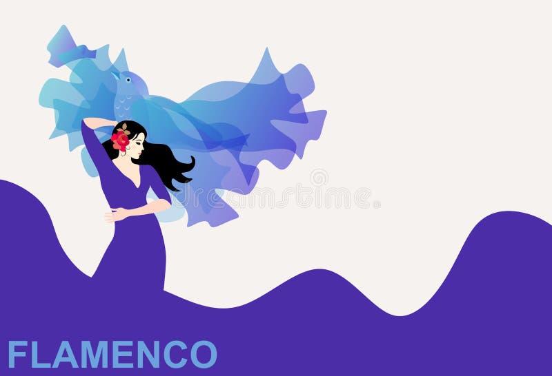 A menina espanhola em um vestido roxo longo, cuja a bainha seja como o mar, está dançando o flamenco com um xaile que olhares com ilustração do vetor