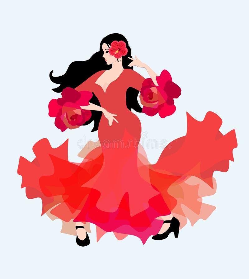 Menina espanhola em um vestido vermelho longo com plissados nas luvas sob a forma das rosas que dançam o flamenco O símbolo da Es ilustração do vetor