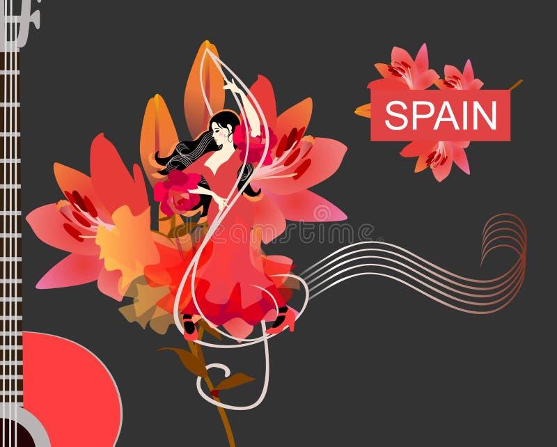 Menina espanhola no flamenco de dança do vestido vermelho com clave de sol na frente das flores grandes do lírio no fundo preto ilustração stock