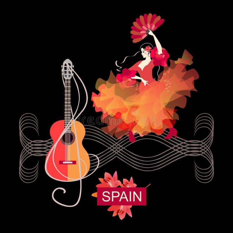 Menina espanhola no vestido vermelho com o fã em seus mão e xaile que olhares como o pássaro que decola, flamenco de dança em rég ilustração do vetor