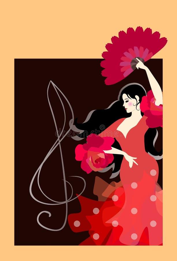 Menina espanhola nova com o fã no flamenco de dança do vestido tradicional no fundo preto com clave de sol Cartão vertical, carta ilustração do vetor