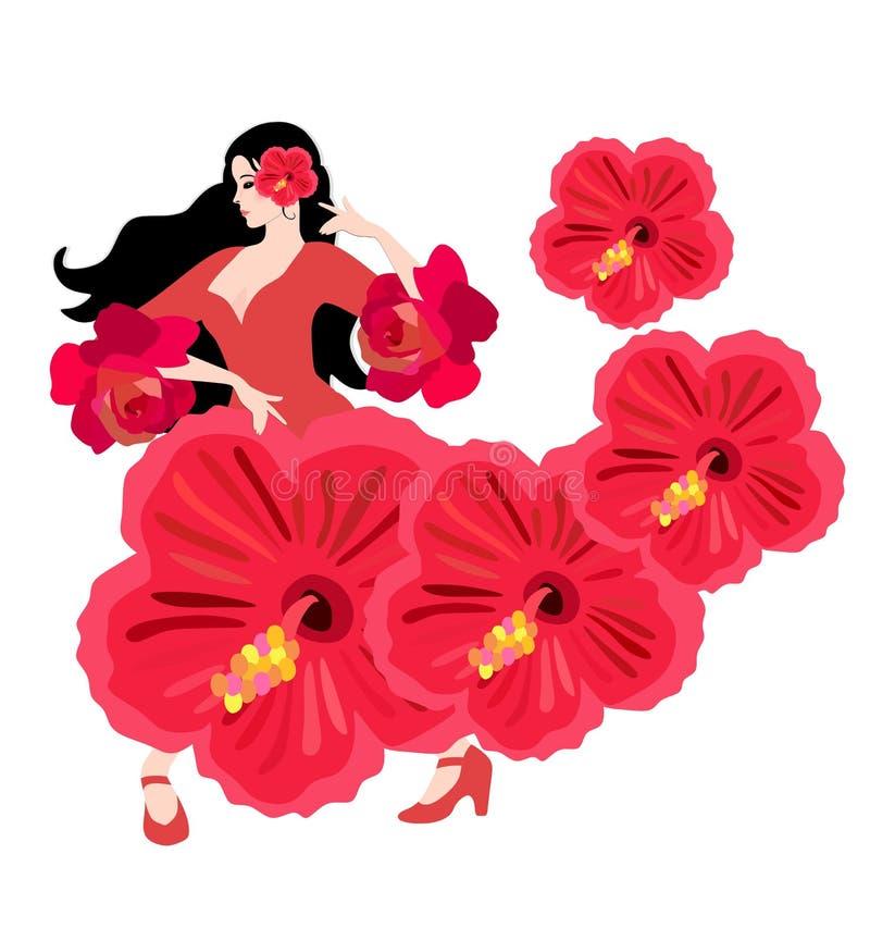 Menina espanhola nova vestida no vestido vermelho da fantasia com as flores do hibiscus que dançam o flamenco isolado no fundo br ilustração do vetor