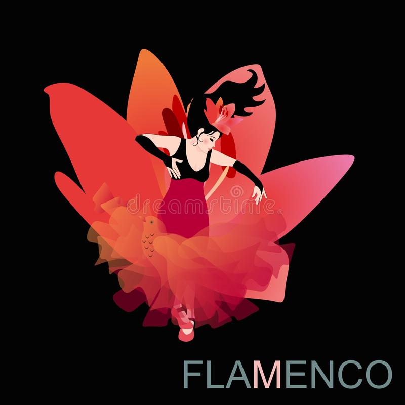 A menina espanhola 'sexy' vestida em um vestido longo com uma bainha olha como uma flor grande do lírio, dançando o flamenco com  ilustração stock