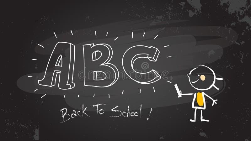 Menina esperta que escreve o ABC no quadro-negro ilustração do vetor