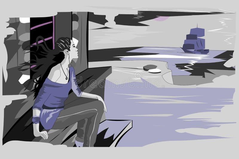 a menina está esperando o navio ilustração stock