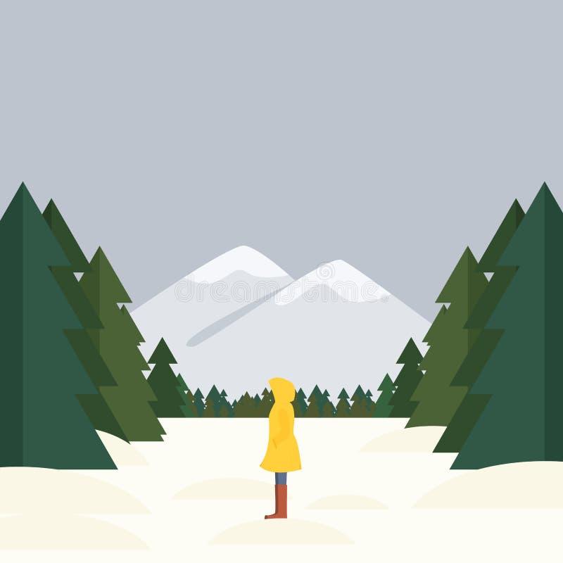 A menina está estando lateralmente em um fundo de uma paisagem, de uma floresta e de umas montanhas do inverno ilustração do vetor