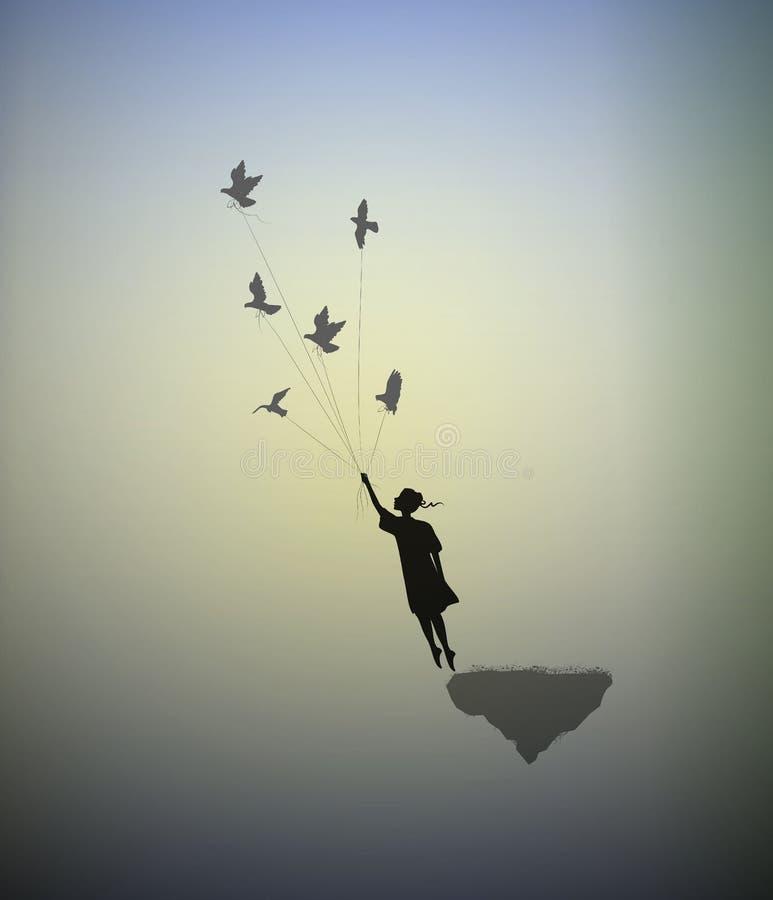 A menina está estando na borda da rocha do voo e os pombos da terra arrendada, maneira no mundo da fantasia, seguem seu sonho, so ilustração stock