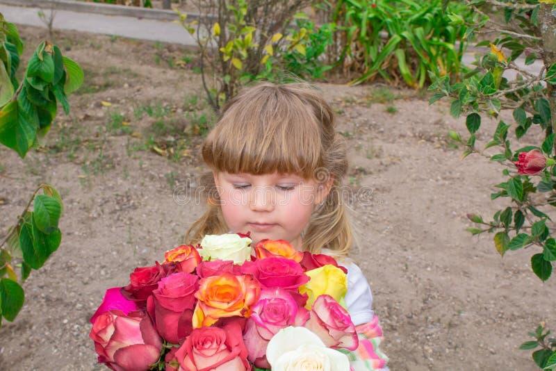 A menina está guardando um ramalhete das rosas, no ar livre fotografia de stock royalty free