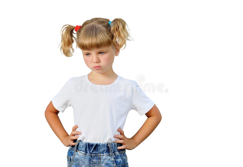 A menina está irritada fotografia de stock