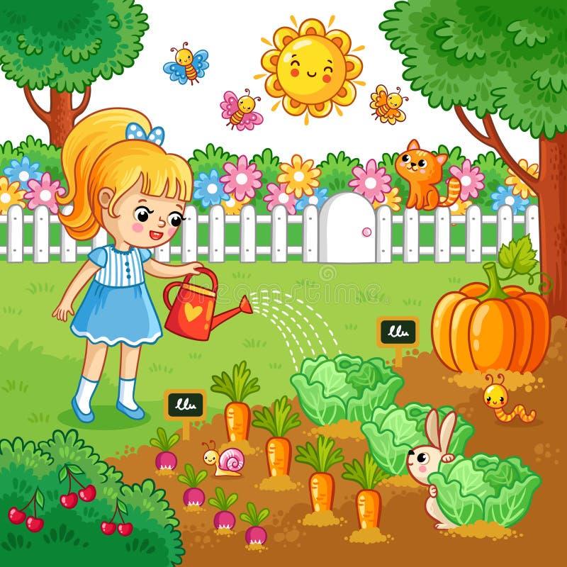 A menina está molhando a cama do jardim com vegetais ilustração stock