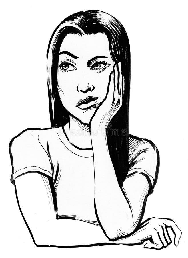 A menina está pensando duramente ilustração do vetor