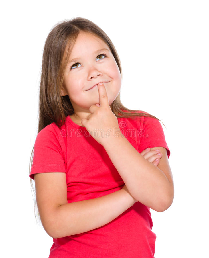 A menina está pensando sobre algo foto de stock royalty free
