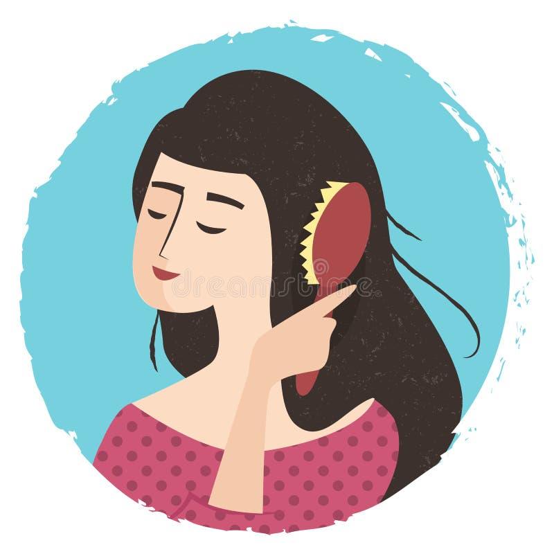 A menina está penteando seu cabelo com escova ilustração royalty free