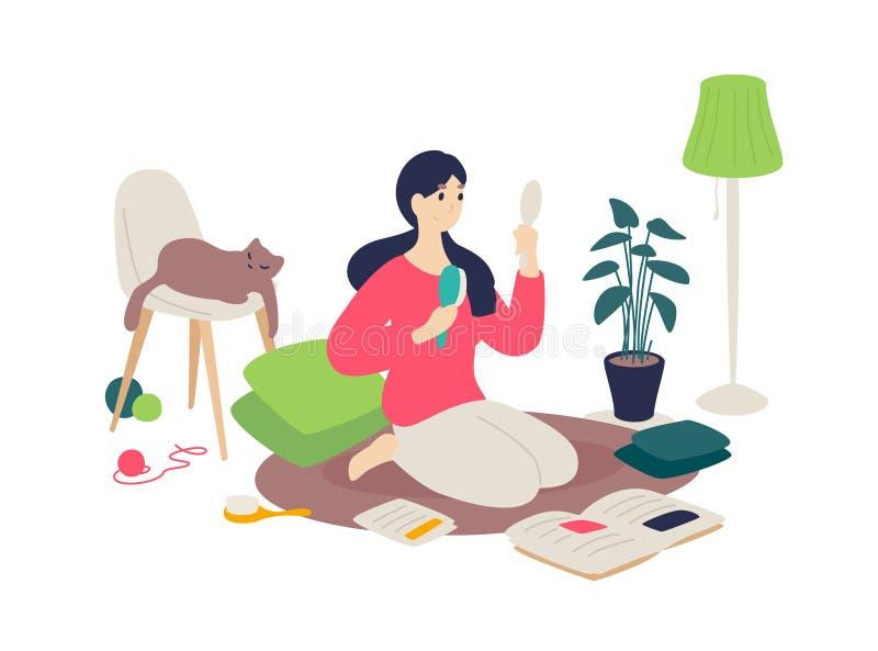 A menina está penteando seu cabelo com uma escova Vetor Estilo liso dos desenhos animados Uma mulher é contratada nsi mesma, lend ilustração stock