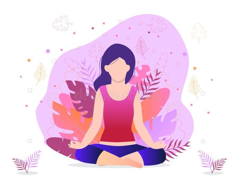 A menina está sentando-se em uma posição de lótus Conceito na moda do estúdio da aptidão, meditação do vetor ilustração do vetor