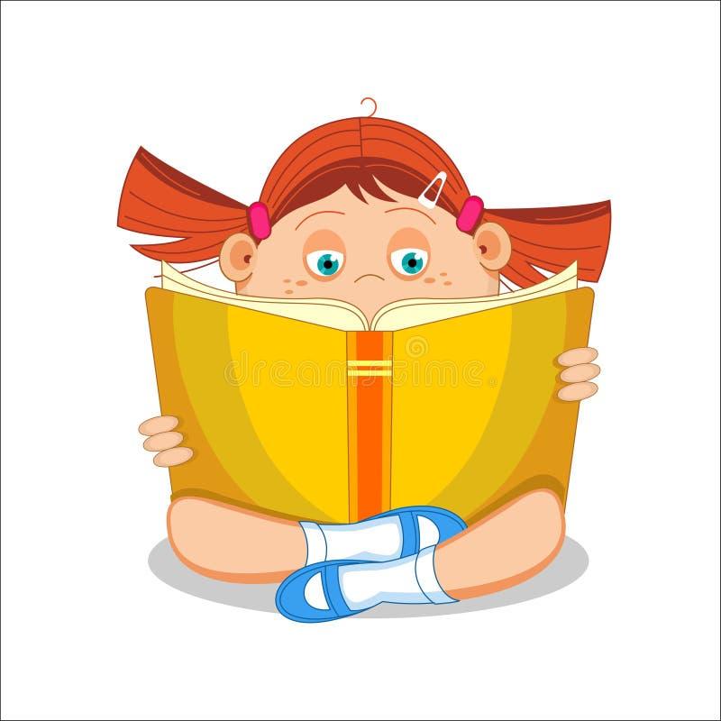 Menina, estudante, lendo o livro aberto que senta-se no assoalho, mal do vetor ilustração stock