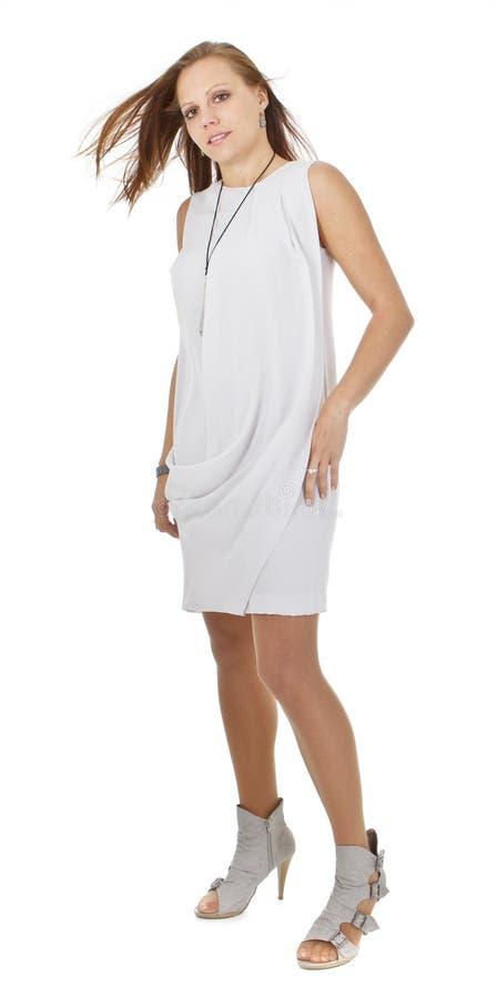 Menina européia bonito nova sobre o fundo branco fotografia de stock royalty free