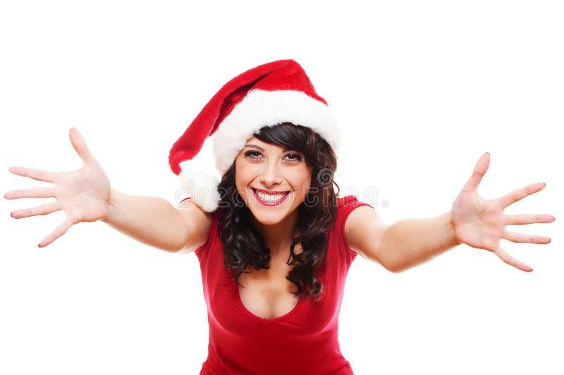 Menina Excited de Santa fotos de stock