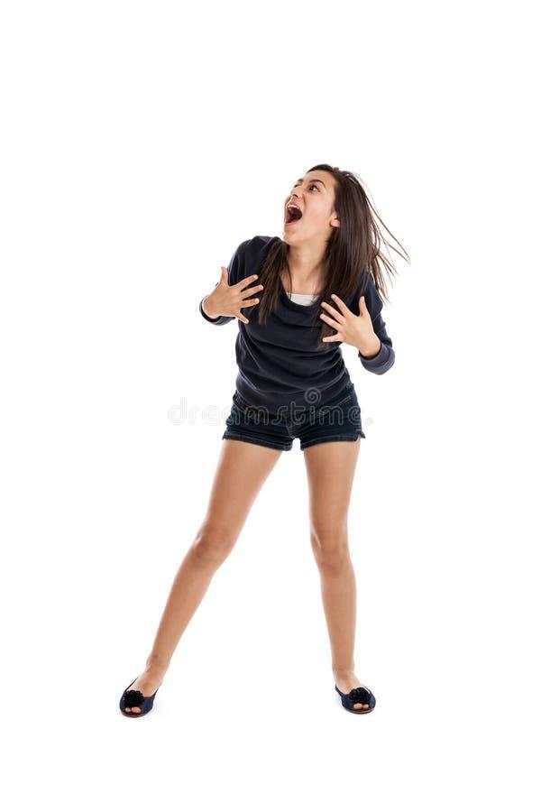 Menina Excited do preteen fotografia de stock