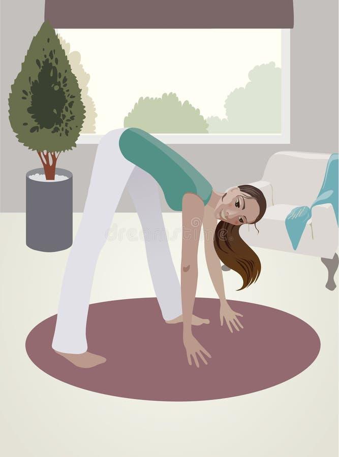 Menina, exercícios físicos imagens de stock
