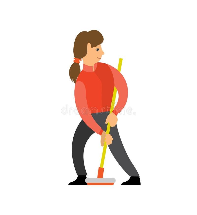 Menina fêmea do jogador do jogo da conca com vassoura de ondulação ilustração royalty free