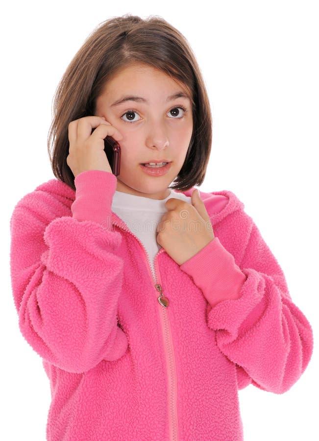 Menina, falando no telefone. imagens de stock royalty free
