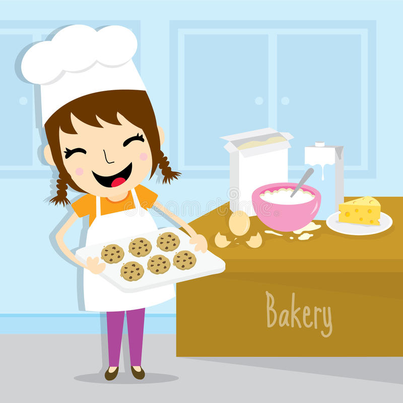 A menina faz a atividade da padaria o vetor bonito dos desenhos animados ilustração stock