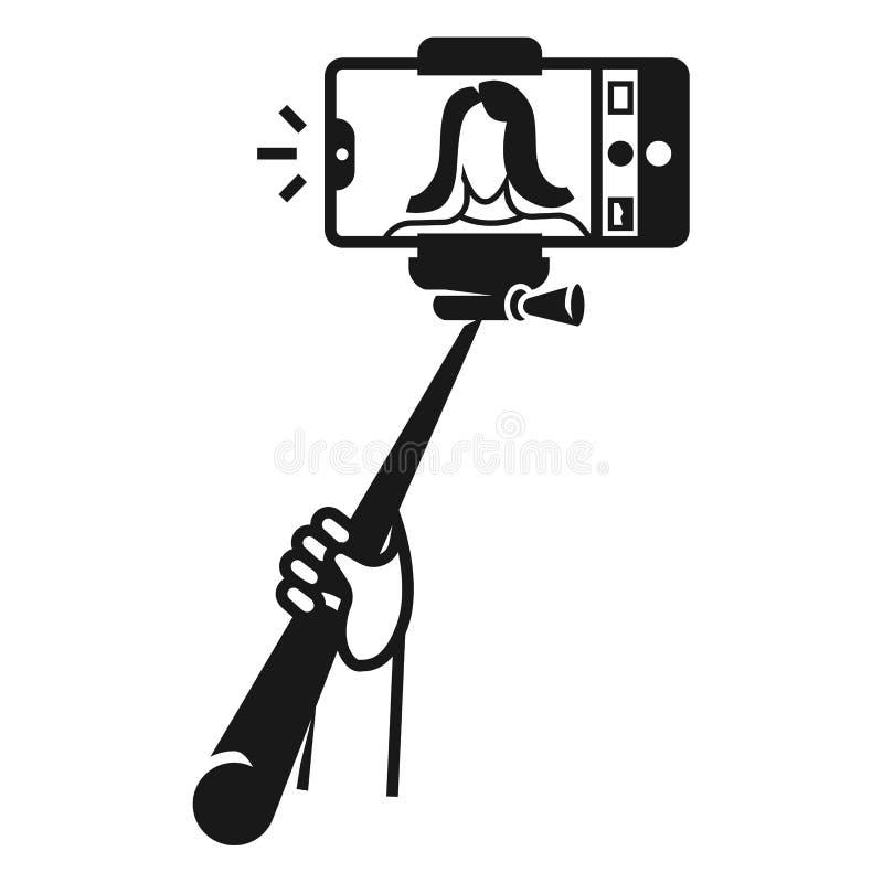 A menina faz o ícone do selfie do monopod, estilo simples ilustração do vetor
