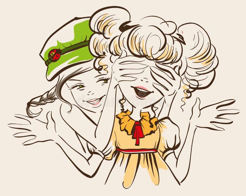 Menina fechado seu amigo das mãos dos olhos Suposição que Dois amigos de menina ilustração royalty free