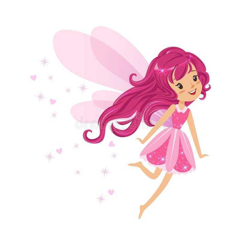 Menina feericamente cor-de-rosa de sorriso bonita que voa a ilustração colorida do vetor do personagem de banda desenhada ilustração do vetor