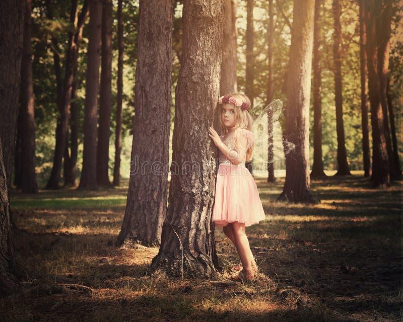 Menina feericamente da criança bonita em madeiras mágicas imagens de stock royalty free