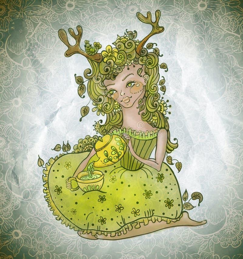 Menina feericamente do ute do ¡ de Ð nas flores com bule e o copo de chá verdes ilustração stock