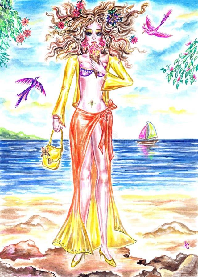 Menina feericamente do verão que come o gelado na costa do mar ilustração do vetor