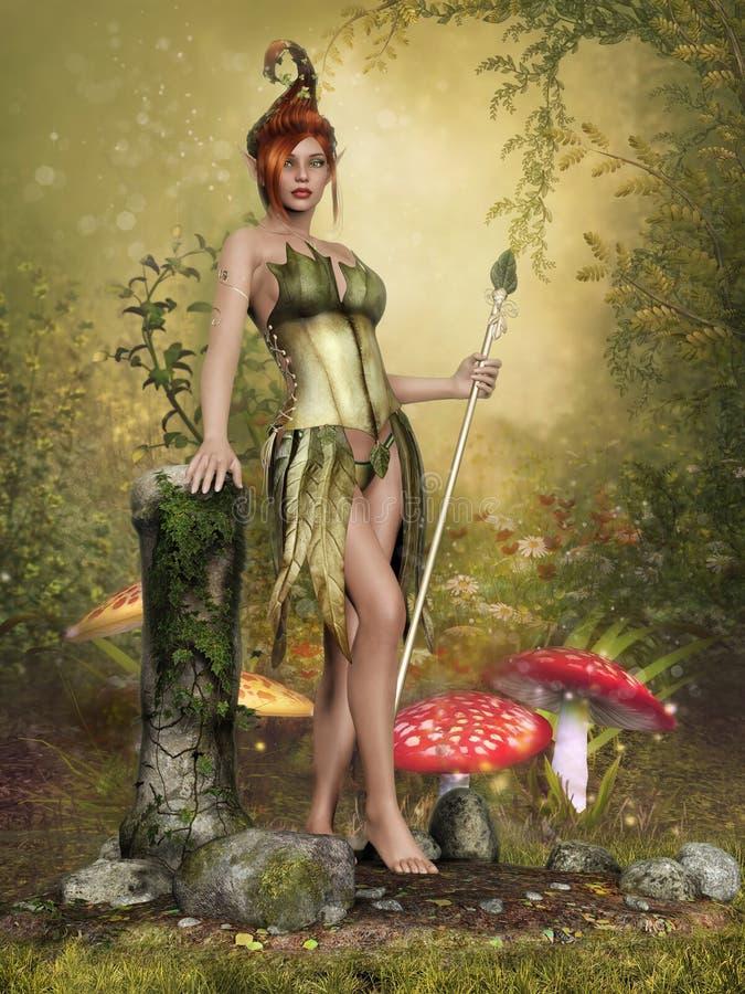 Menina feericamente em um prado do cogumelo ilustração royalty free