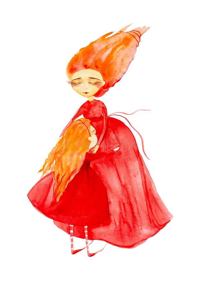 A menina feericamente em um vestido vermelho e em umas meias listradas, com o cabelo vermelho que torna-se no vento abra?a sua fa ilustração do vetor