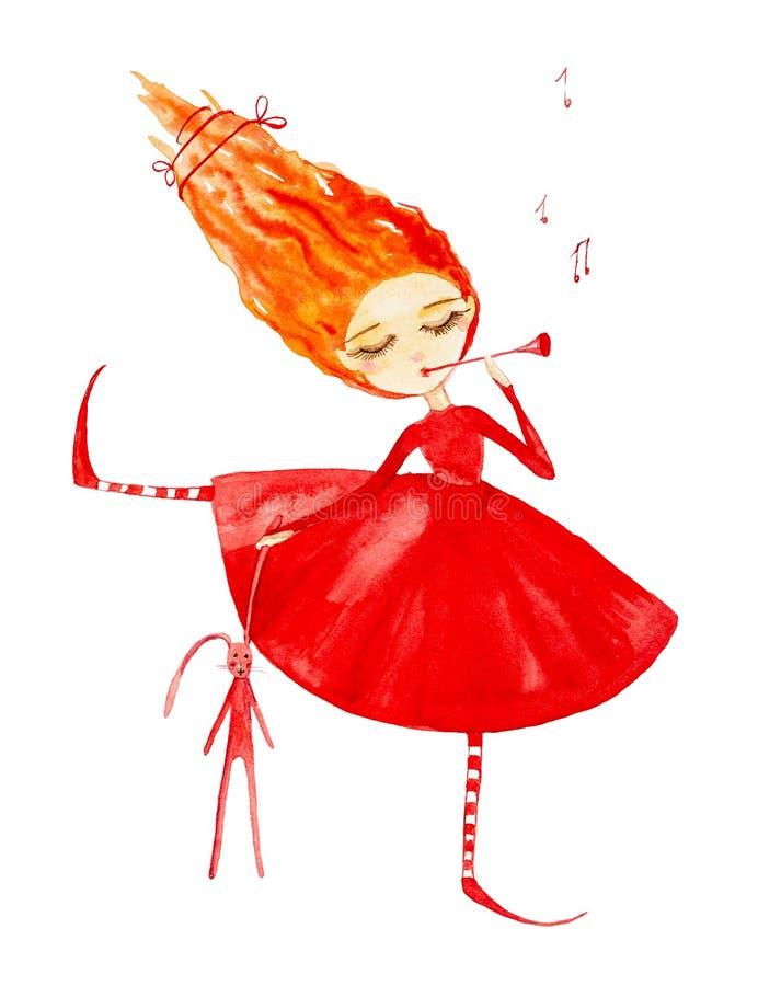 Menina feericamente em um vestido vermelho e em umas meias listradas, com o cabelo vermelho que torna-se no vento Guarda uma lebr ilustração do vetor
