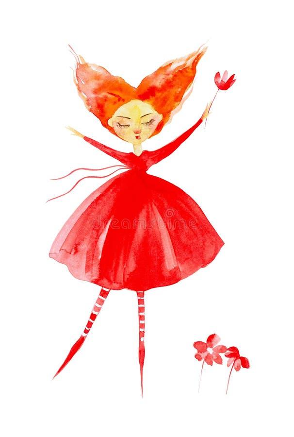 Menina feericamente em um vestido vermelho e em umas meias listradas, com o cabelo vermelho que torna-se no vento Moscas atrav?s  ilustração royalty free