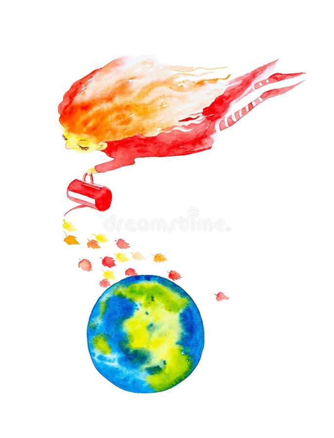 A menina feericamente em um vestido vermelho e em umas meias listradas, com tornar-se no vento que o cabelo vermelho derrama fora ilustração stock