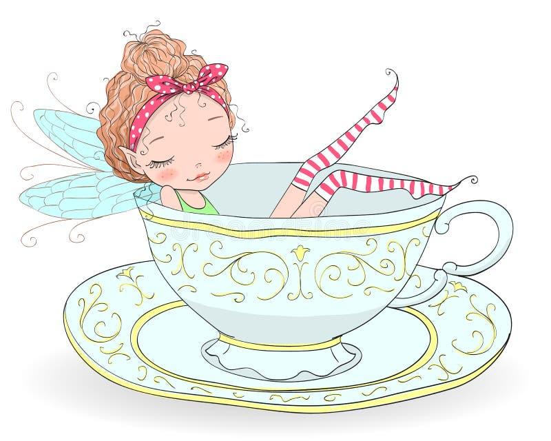 A menina feericamente encaracolado tirada mão do ruivo bonito, bonito, pequeno com sardas toma um banho em um copo da porcelana ilustração do vetor