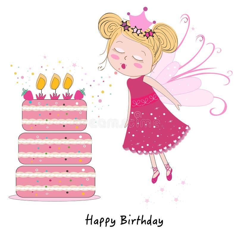 Menina feericamente que funde para fora velas com o bolo do feliz aniversario ilustração stock