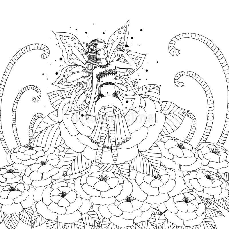 Menina feericamente que joga com a borboleta no projeto da floresta da flor para o livro para colorir para o adulto e as crianças ilustração stock