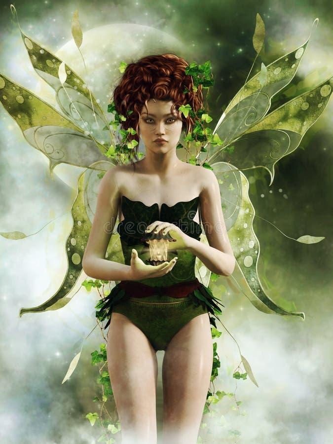 Menina feericamente verde com uma lanterna ilustração stock