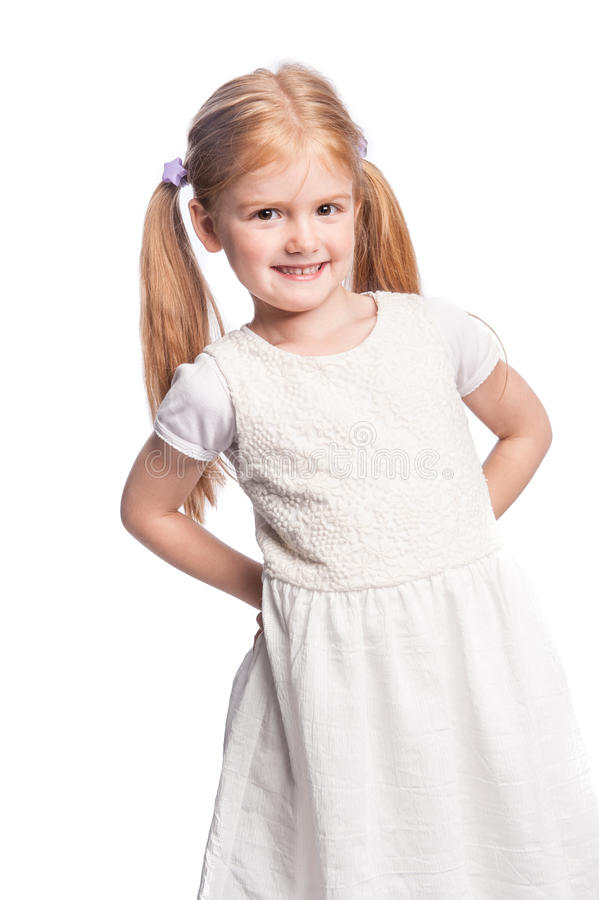 Menina feliz bonita com Pony Tail Hair fotos de stock