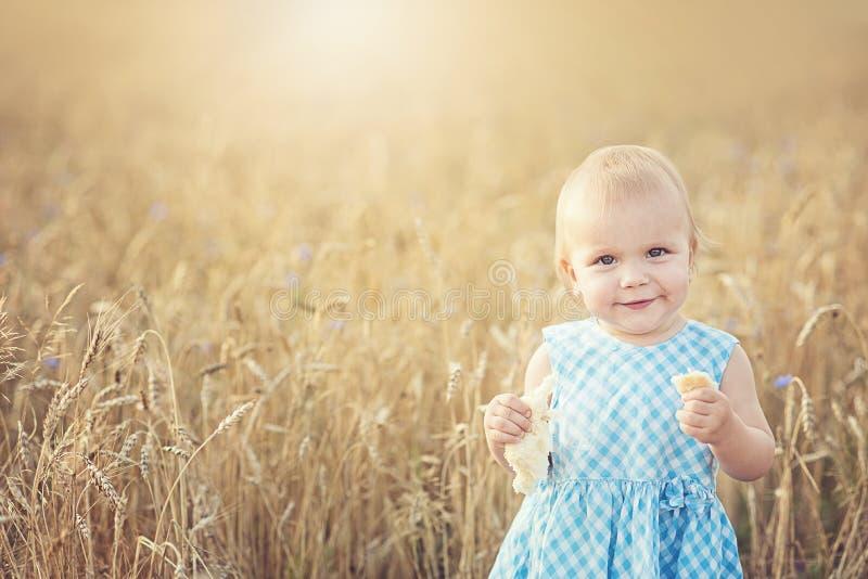 menina feliz bonito no campo de trigo em um dia de verão morno imagem de stock