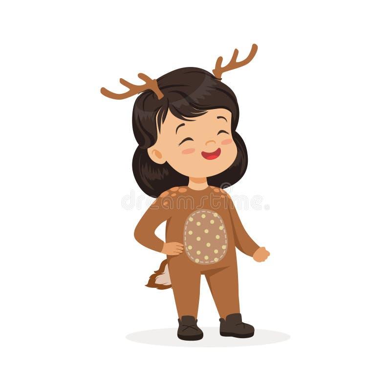 Menina feliz bonito vestida como um cervo, traje do carnaval das crianças, ilustração do vetor ilustração royalty free
