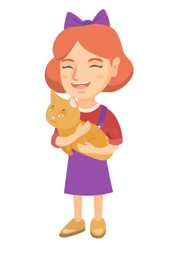 Menina feliz caucasiano que guarda um gato ilustração royalty free