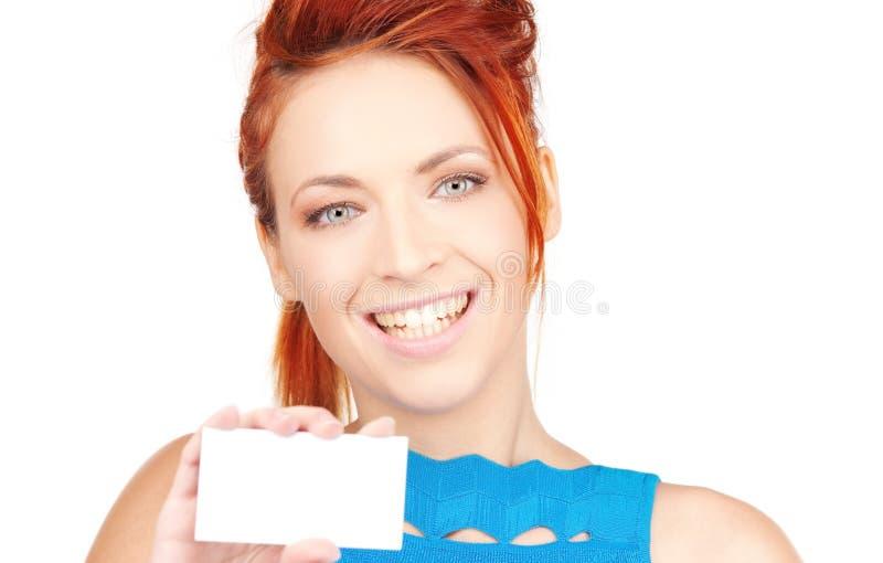 Menina feliz com cartão imagens de stock