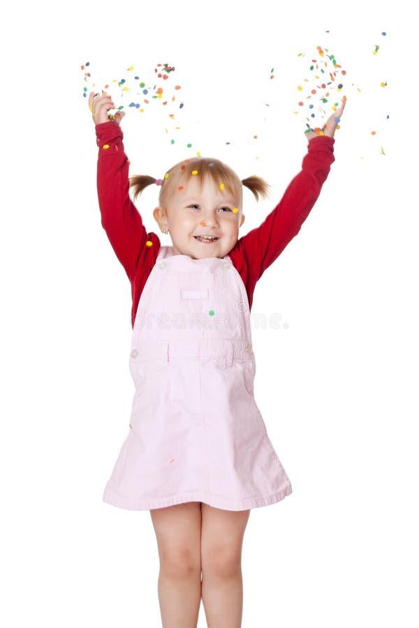 Menina feliz com confetti fotos de stock