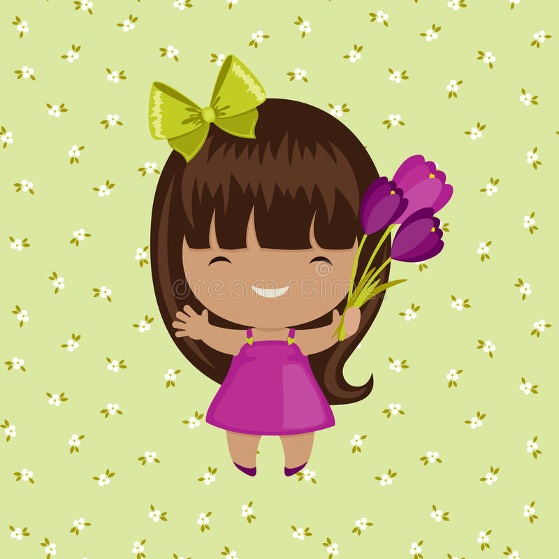 Menina feliz com flores ilustração stock