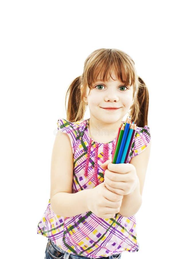 Menina feliz com lápis coloridos fotos de stock